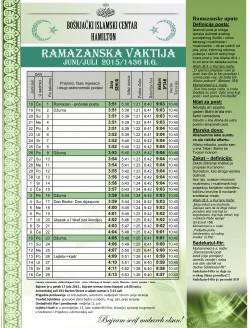 Ramazanska Vaktija Juni/Juli 2015
